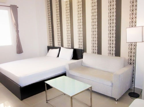 1159-0904 Short-term one-bedroom apartment fully furnished with sofa, bed, kitchen